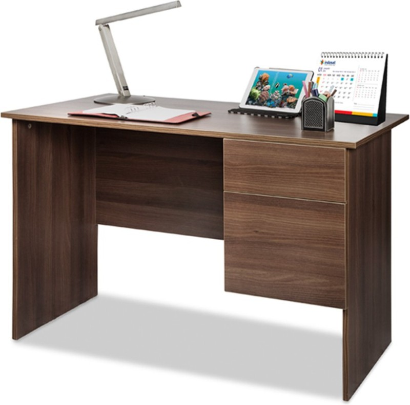 Debono Award Study Table with one Drawer & one Shutter Engineered Wood Study Table(Free Standing, Finish Color - Acacia Dark Matt Finish)