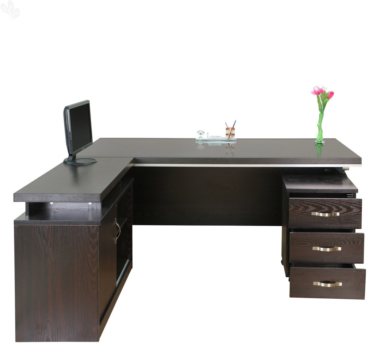 View Royal Oak Berry Engineered Wood Office Table(Free Standing, Finish Color - Honey Brown) Furniture (Royal Oak)