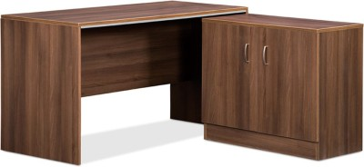 Debono Genius Table with side unit in Acacia Dark Finish and Silver Grey by Debono Engineered Wood Office Table