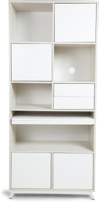 HomeTown Lumen Bookcase Engineered Wood Study Table(Free Standing, Finish Color - White & Pine)