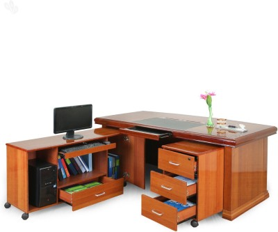 Royal Oak Retro Engineered Wood Office Table(Free Standing, Finish Color - Natural)