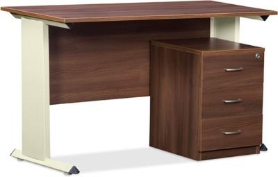 Debono Trendy Table with three drawer pedestal in Acacia Dark & Cream Matt powder coated steel leg by Debono Engineered Wood Office Table