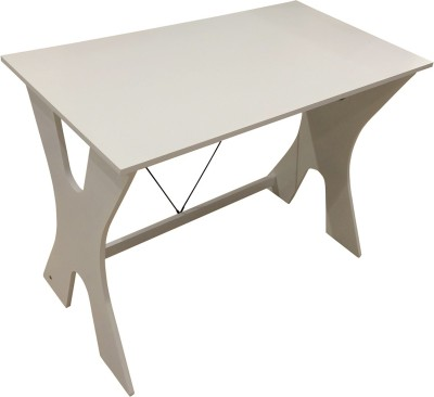 HomeTown Cary Home Solid Wood Office Table(Free Standing, Finish Color - White)