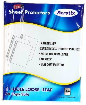 "HANDSON SHEET PROTECTORS AEROTIXâ""¢ 11-HOLE LOOSE LEAF A4 COPY SAFE(OT-SP300 A4)(PAKING 50PC)PLATINUM BSC10839 A4 Ohp Sheets"