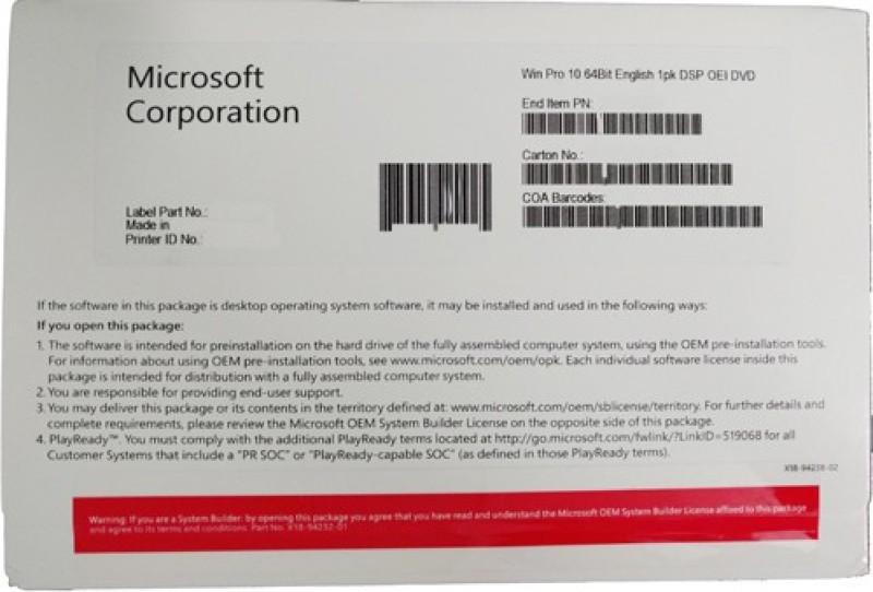 Microsoft FQC-08929 Windows 10 Pro 64 bit OEM 64 BIT