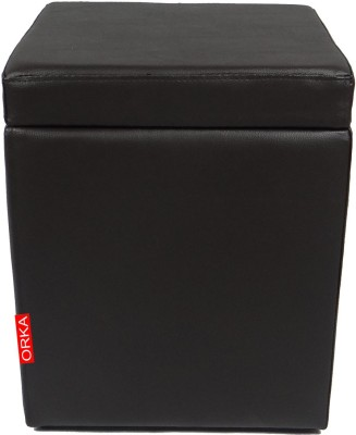 ORKA Leatherette Standard Ottoman(Finish Color - Black)