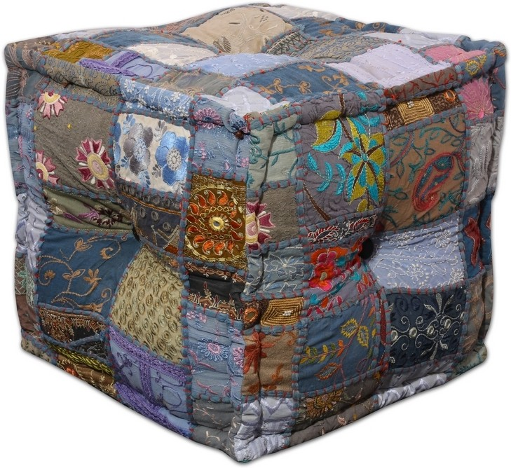 View Ikiriya Fabric Pouf(Finish Color - grey, blue) Furniture (Ikiriya)