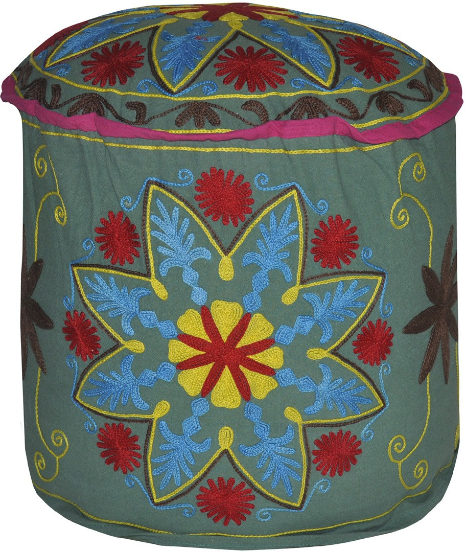 View Lal Haveli Fabric Pouf(Finish Color - Green) Furniture (Lal Haveli)