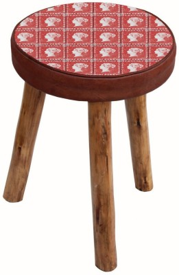 The Attic Solid Wood Standard Ottoman(Finish Color - Red)