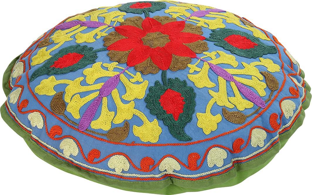 Rajrang Fabric Pouf(Finish Color - Green)   Furniture  (Rajrang)