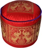 Lal Haveli Fabric Pouf (Finish Color - R...