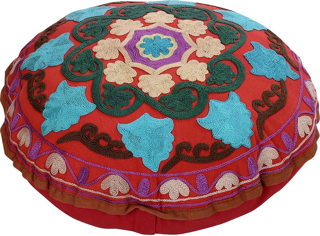 Rajrang Fabric Pouf(Finish Color - Maroon)   Furniture  (Rajrang)