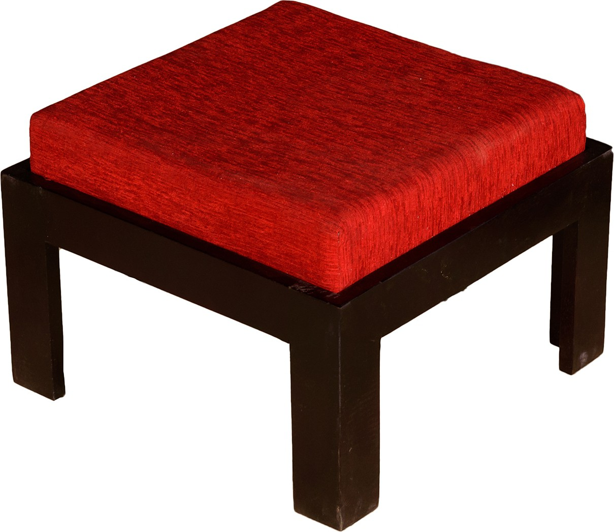 View Handiana Solid Wood Cube Ottoman(Finish Color - Red) Furniture (Handiana)