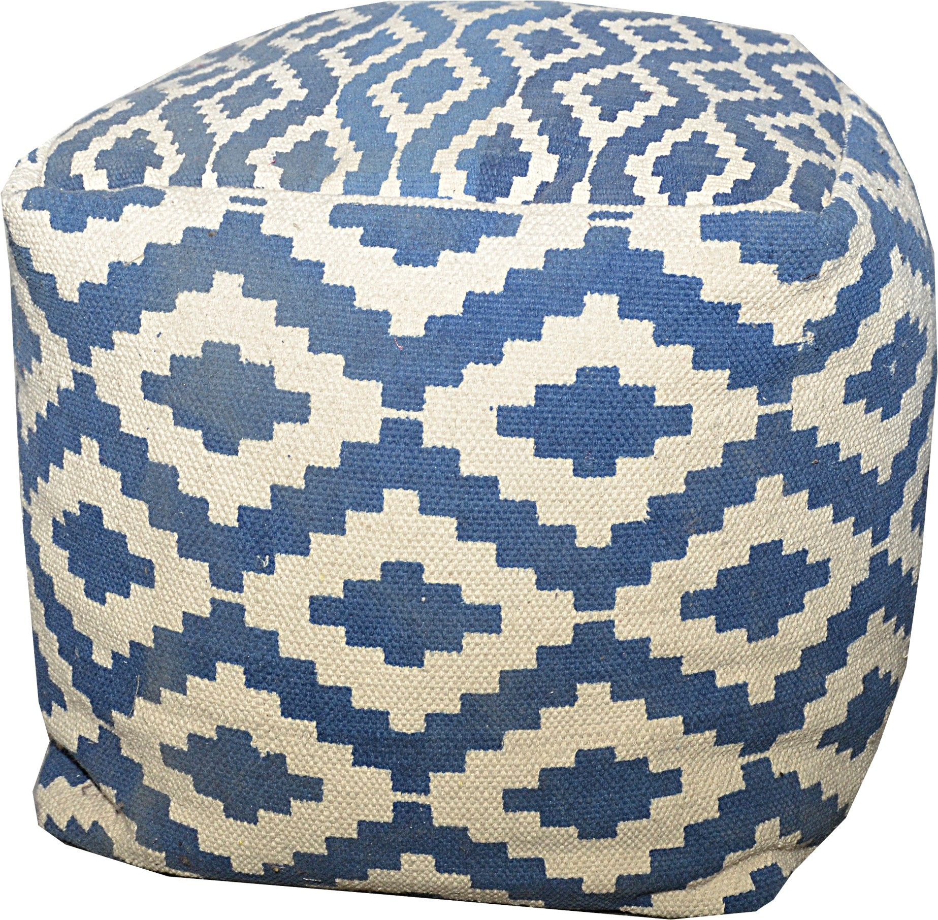 View JJ Craft Natural Fiber Standard Ottoman(Finish Color - blue) Furniture (JJ Craft)