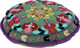 Rajrang Fabric Pouf (Finish Color - Gree...