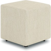Cubit Homes Fabric Pouf(Finish Color - White Delight)