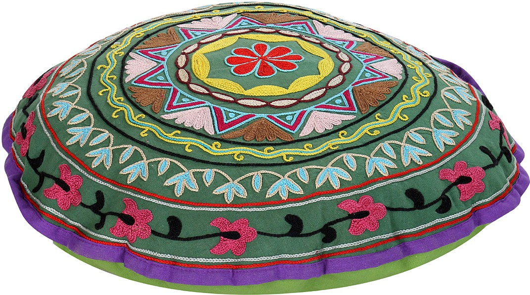 Rajrang Fabric Pouf(Finish Color - Green)   Furniture  (Rajrang)