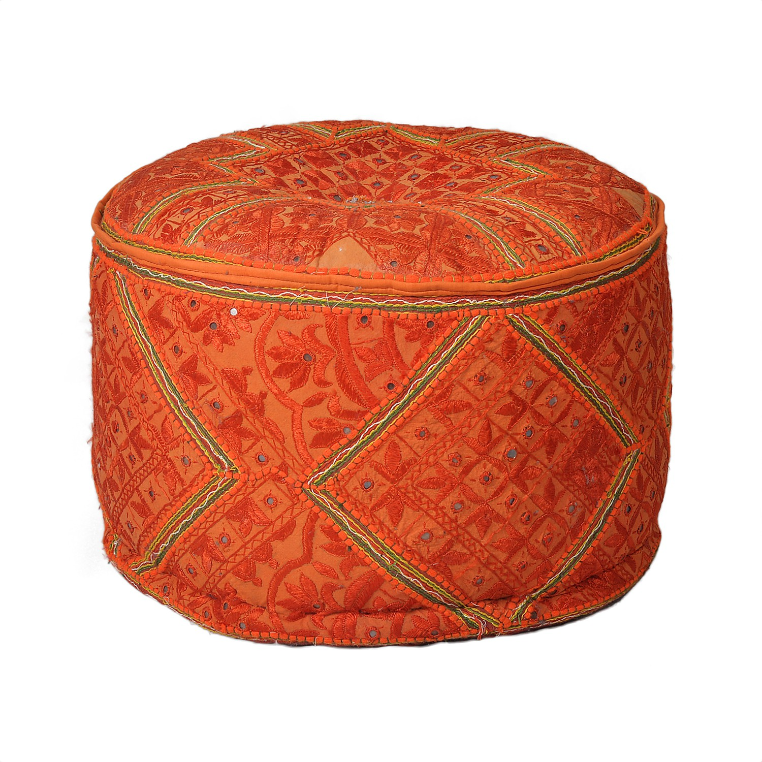 View The Yellow Door Natural Fiber Pouf(Finish Color - Orange) Furniture (The Yellow Door)