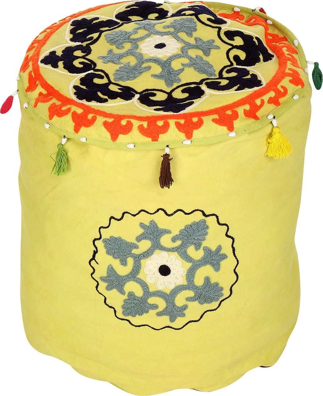 Rajrang Fabric Pouf(Finish Color - Parrot Green)   Furniture  (Rajrang)