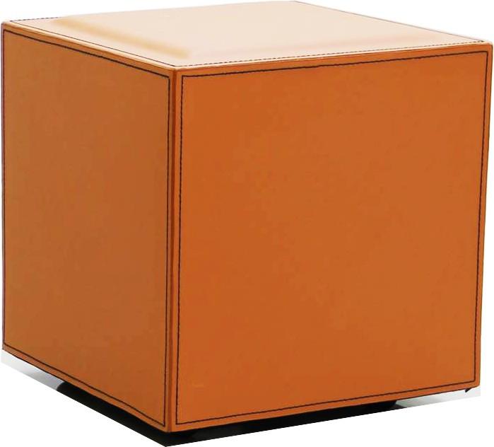 View Index Leatherette Cube Ottoman(Finish Color - Orange) Furniture (Index)