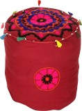 Rajrang Fabric Pouf (Finish Color - Maro...
