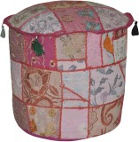 Lal Haveli Fabric Pouf (Finish Color - P...