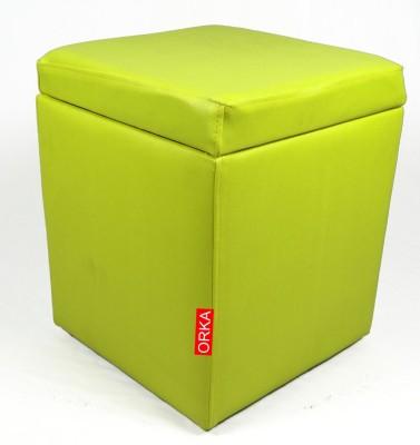 ORKA Leatherette Standard Ottoman(Finish Color - Green)