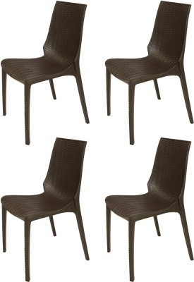 Mavi Plastic Outdoor Chair(Finish Color - Brown)