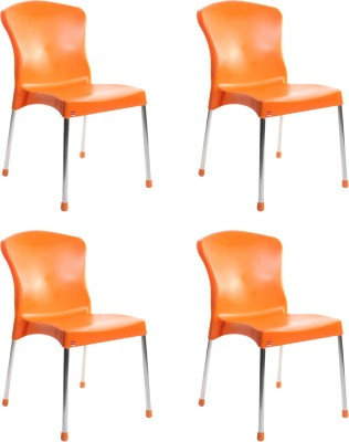 Cello Furniture Plastic Cafeteria Chair(Finish Color - Orange)