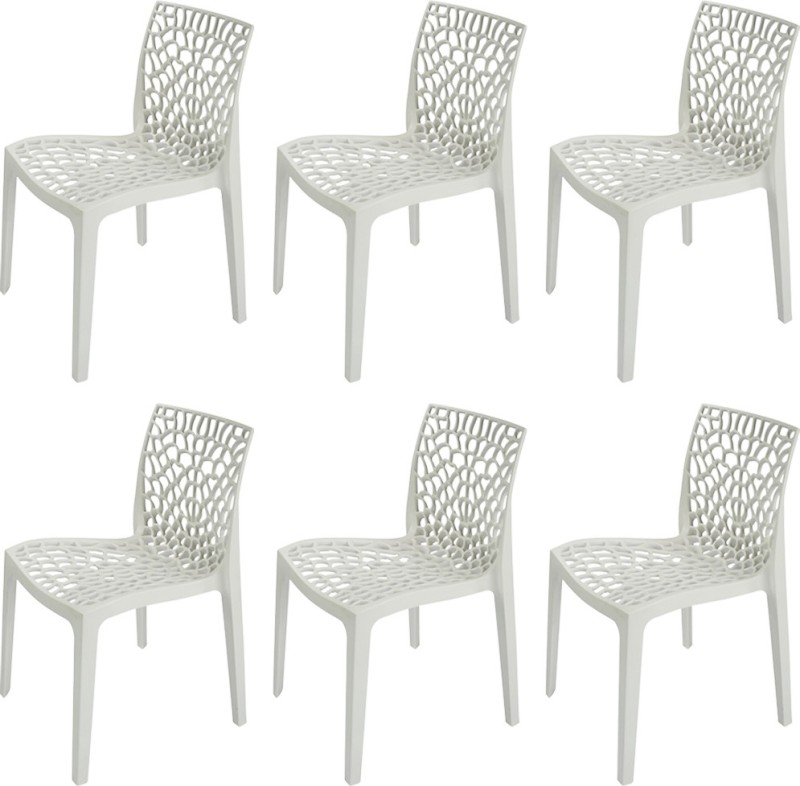 Supreme Web Plastic Outdoor Chair(Finish Color - Milky White)