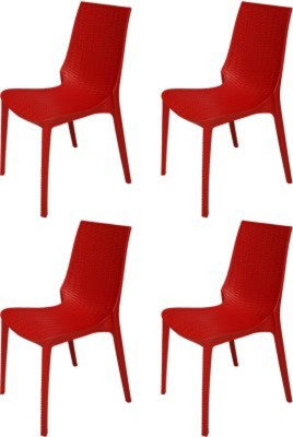 Mavi Plastic Outdoor Chair(Finish Color - Red)