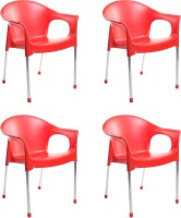Cello Furniture Plastic Cafeteria Chair(Finish Color - Red)