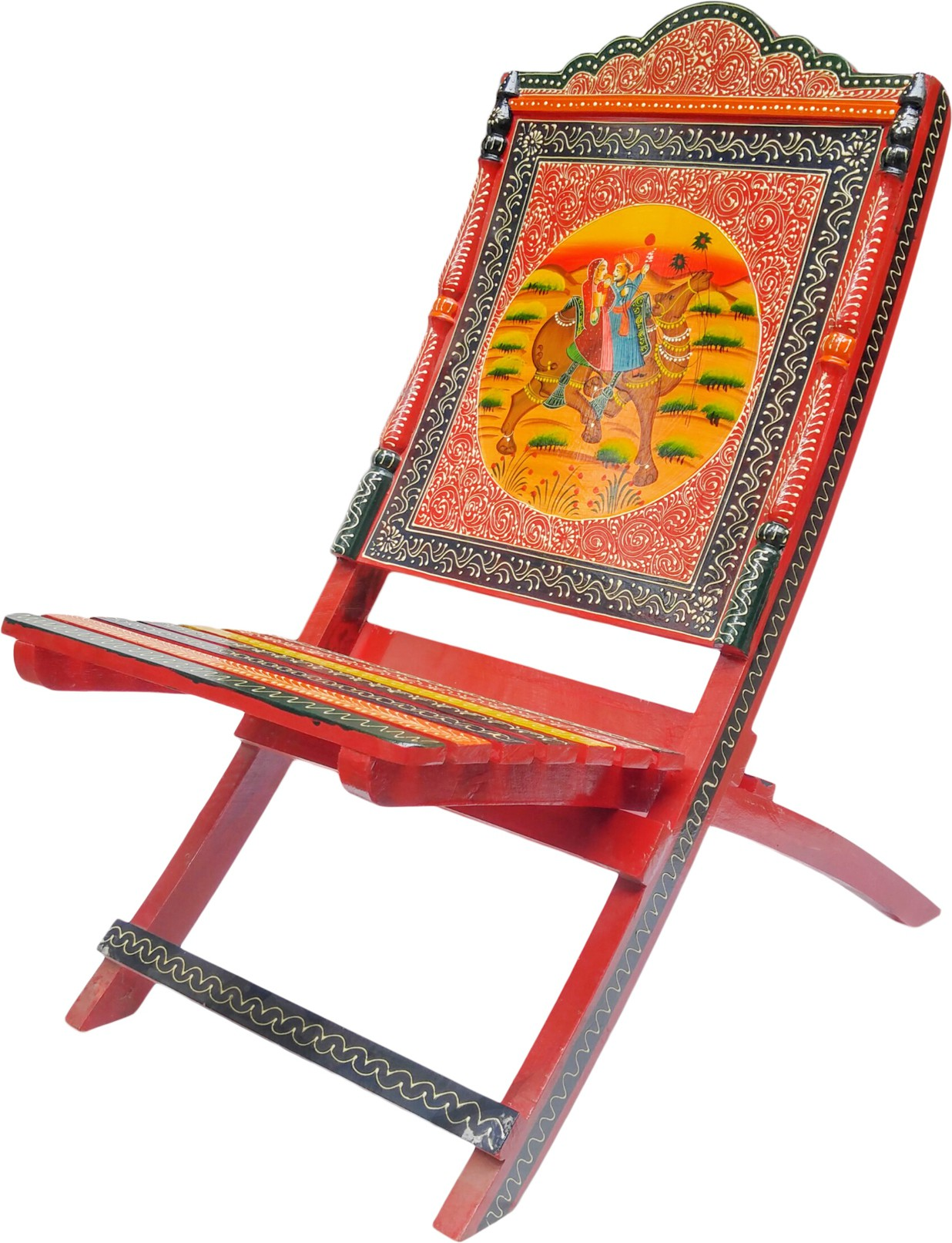 View MetalEdge Hand-painted Chair Solid Wood Cafeteria Chair(Finish Color - Multi Colour) Furniture (MetalEdge)