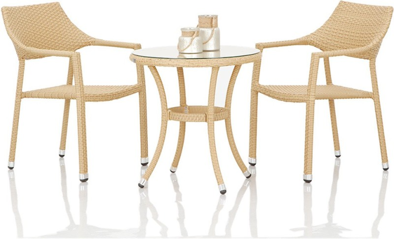 Studio F Beige Synthetic Fiber Table & Chair Set(Finish Color - Beige)