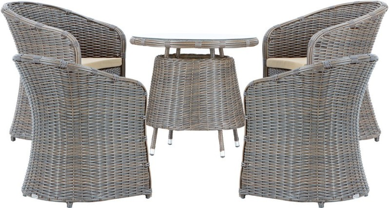 Studio F Brown Synthetic Fiber Table & Chair Set(Finish Color - Brown)