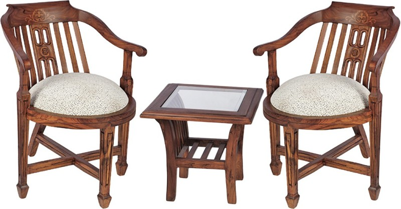 Smarvvv Productions Brown Solid Wood Table & Chair Set(Finish Color - Brown)