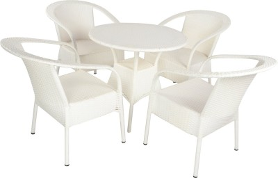Mavi White Cane Table & Chair Set(Finish Color - White)