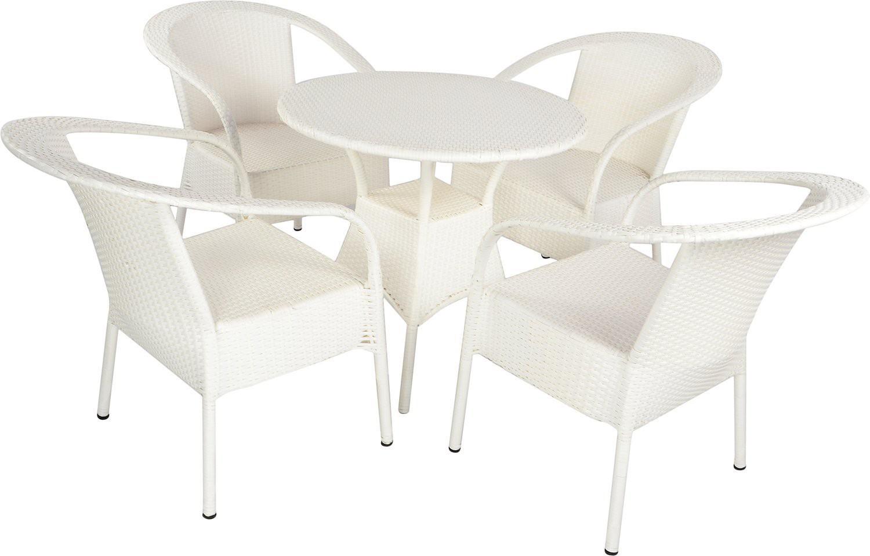 Mavi White Cane Table & Chair Set