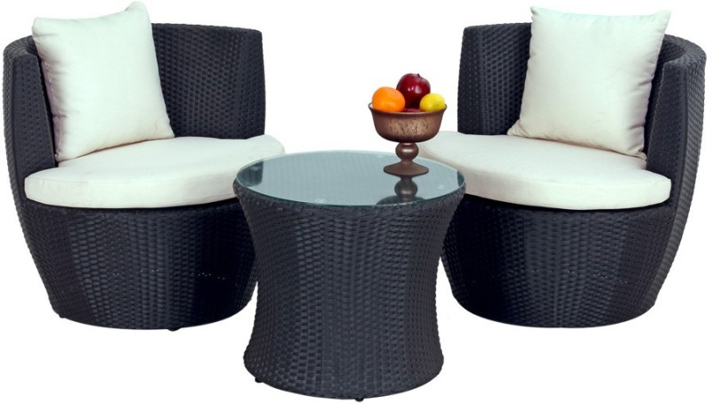 Studio F Black Synthetic Fiber Table & Chair Set(Finish Color - Black)