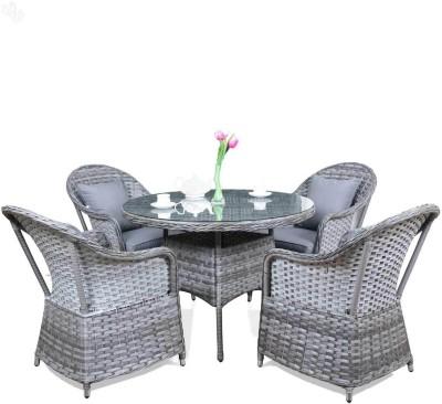 Royal Oak Grey Metal Table & Chair Set(Finish Color - Grey)