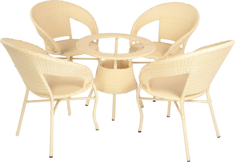 Mavi Beige Cane Table & Chair Set