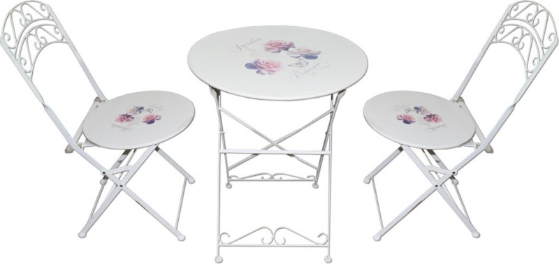 Mavi White Metal Table & Chair Set(Finish Color - White)