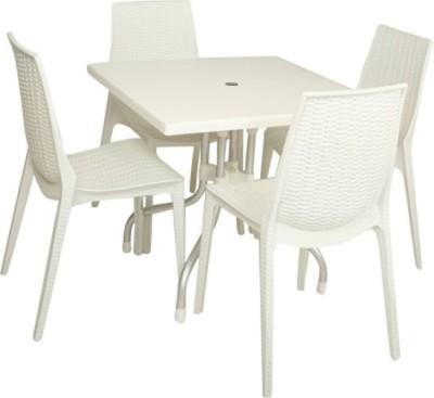 Mavi White Plastic Table & Chair Set(Finish Color - White)