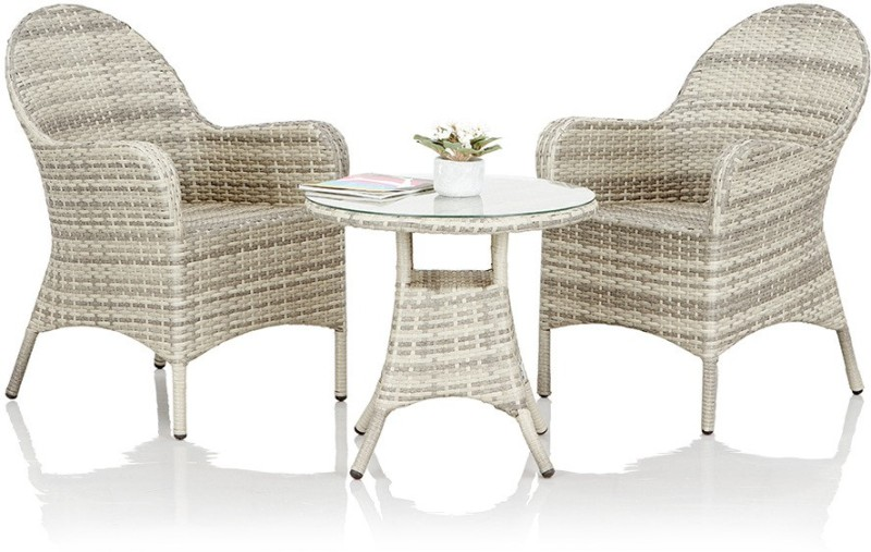 Studio F Grey Synthetic Fiber Table & Chair Set(Finish Color - Grey)