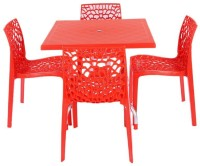 Mavi Red Plastic Table & Chair Set(Finish Color - Red)