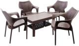 Mavi Brown Plastic Table & Chair Set (Fi...