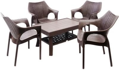 Mavi Brown Plastic Table & Chair Set(Finish Color - Brown)