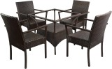 Mavi Brown Cane Table & Chair Set (Finis...
