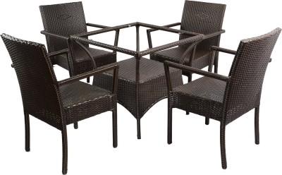 Mavi Brown Cane Table & Chair Set(Finish Color - Brown)