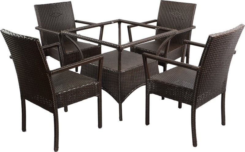 Mavi Brown Cane Table & Chair Set(Finish Color - Brown)